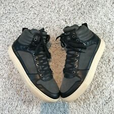 Replay Gunnel Sneakers Mens Shoes UK 8 EU 42 Grey Black Leather Hi Top Trainers