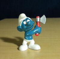 Smurfs 20087 Woodcutter Smurf Swinging Axe Vintage Figure Peyo Toy PVC Figurine