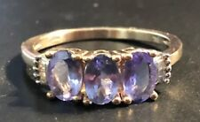 Stunning Vintage 9ct Gold Amethyst - Diamond Dress Ring,- Size O