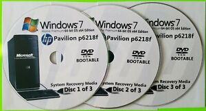 HP Pavilion p6218f Factory Recovery Media 3-Discs Set / Windows 7 Home 64bit