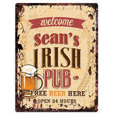 PMBP0094 SEAN'S IRISH PUB Rustic tin Sign PUB Bar Man cave Decor Gift