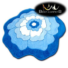 """FUNNY CHILDREN CIRCLE RUG """"HAPPY """"FLOWER BLUE unusual patterns HIGH QUALITY"""