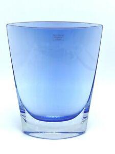 Vintage Handcrafted Mouth Blown Cobalt Blue Oval Vase LSA Intl made in Poland