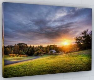 COUNTRYSIDE SUNSET CANVAS PICTURE PRINT WALL ART CHUNKY FRAME LARGE 492-2