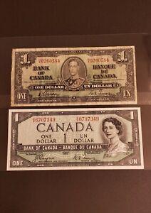 1937 & 1954 Canada $1 Banknotes. RARE NARROW PANEL & DEVIL FACE.