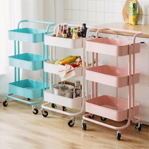 3/4 Tier Kitchen Trolley Cart With Handle Storage Rack Tray Shelf Rolling Wheels