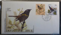 1986 NEW ZEALAND DEFINITIVES BIRDS SET OF 2 STAMPS FIRST DAY COVER 23.4.86