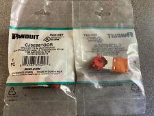 LOT OF 10EA. NEW ORANGE PANDUIT MINI-COM CAT5E MODULAR JACKS, PART # CJ5E88TGOR
