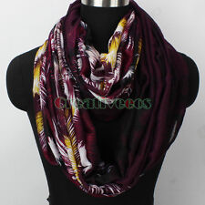 Fashion Women Floral Firework Print Viscose Infinity Circle Loop Scarf Snood New
