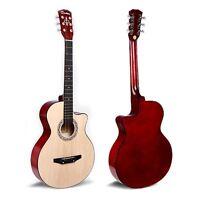 "38"" Walnut Acoustic 6 String Guitar Beginners School Student Adults Xmas Present"