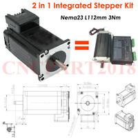 Nema23 Stepper Motor 4.2A 3Nm L112mm Integrated Driver 2 In1 425oz.in CNC Router