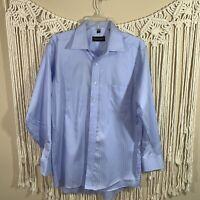 Donald J Trump Signature Collection Dress Shirt 16 1/2 34-35  Blue Pre-Owned