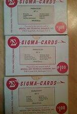 Vintage Sigma Press Pharmacology Study Cards/Flash Cards 1959-60 edition A,B,D
