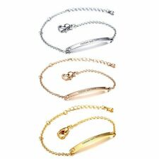 Women's Ladies Stainless Steel Tag Name Initial ID Bar Bracelet Chain Bangle
