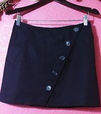 Burberry Black Wool A-line Wrap Asymmetrical Button Mini Skirt 4/US 6/UK Perfect