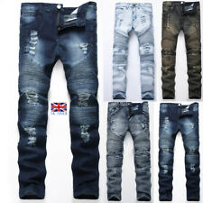 UK Mens Ripped Frayed Denim Pants Destroyed Biker Jeans Casual Slim Fit Trousers