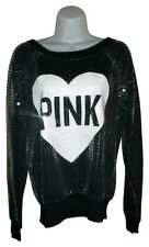 Victoria's Secret Pink Bling Crew Sequin Fashion Show Exclusive L/S Black Top