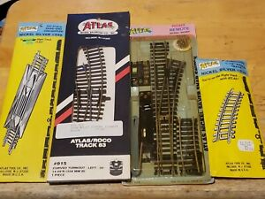4 New nickel silver vintage HO Atlas Train Tracks Mixed lot Turnouts And More!