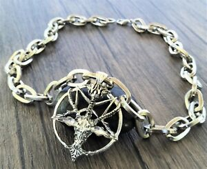 Medieval Skull Goat Pentagram Gothic Pagan Wiccan Wide Heavy Metal Chain 52CM