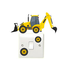 Digger Light Switch Wall Sticker Children's Bedroom Tractors Farm Vehicle