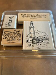 Stampin' Up 1998 Lighthouse Boat Anchor Richly Blessed Bird 4 Rubber Stamp Lot