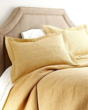 CORNSILK YELLOW Full / Queen QUILT : 100% COTTON MATELASSE FALL TILE COVERLET