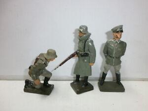 Konvolut 3 alte Lineol Massesoldaten Ausbilder Wachposten Kanonier zu 7.5cm