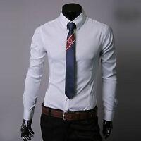 Luxury Mens Long Sleeve Casual Dress Shirts Stylish Formal Slim Fit Tee Tops USA