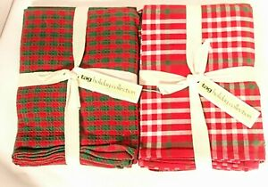 Tag Holiday Collection 6pcs Kitchen Dish  Towels   Plaid Red Green