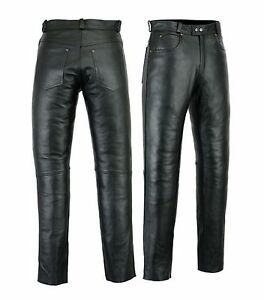 Mens  Leather Trousers Jeans Pants trousers premium quality Cow Plain Leather