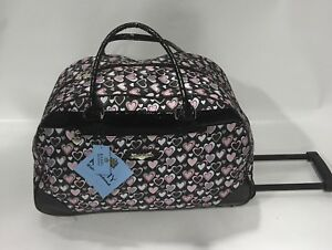 NEW KATHY VAN ZEALAND PINK HEART BLACK WHEELED DUFFLE LUGGAGE CITY BAG $120