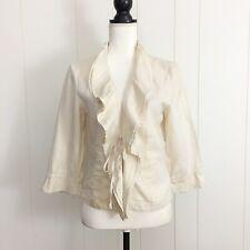 Adec 2 Phillippe Adec Womens Cream Gold Ruffled Front Tie Linen Blazer Size 8