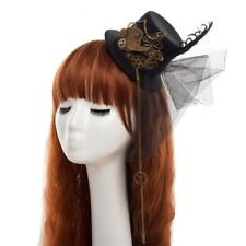 STEAMPUNK FACINATOR MINI/SMALL TOP HAT HAIR SLIDES COGS BUTTERFLY CHAINS/FEATHER