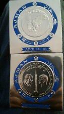 AJMAN SILVER  FOIL JOHN KENNEDY A SHEPARD MERCURY 3 APOLLO 11 IMPERF COIN STAMPS