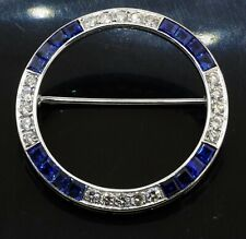 14K white gold 3.0CT VS1/G diamond & Blue sapphire circle wreath brooch