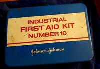 Vintage 1970's First Aid Kit Johnson Industrial 10 Metal Box Contents