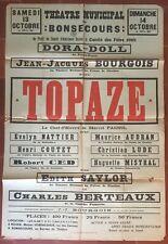 Poster Theatre Bonsecours Topaz Marcel Pagnol Dora Doll 1945