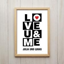 Kunstdruck DIN A4 Personalisiertes Bild LOVE U & ME Liebe Ehe Hochzeit Geschenk