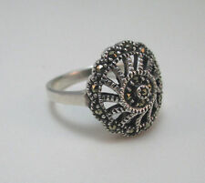 STERLING SILVER ETCHED VINTAGE STYLE MARCASITE RING SIZE 6.75 ****
