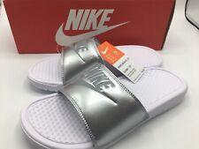 Nike Benassi JDI Slide Sandal Women's Size 7 White Wolf Grey Metalic 343881 107