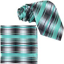 New Men's Poly Woven Neck Tie & Pocket Square Hankie Set blue/ Gray / Navy