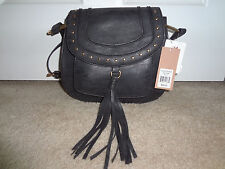 18d27a93b7dc NWT FRANCO SARTO CROSSBODY BAG SADDLE TINSEL FRINGE-Black Handbag Purse