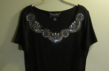 NEW ST JOHN COUTURE RT 11 GRP 3 Crystal Stones/Beads Black Top M
