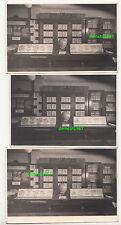 3 x Foto Briefmarken Geschäft um 1950 Theke Laden stamps shop ! (F2027