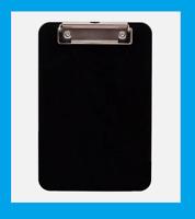 """Black CLIPBOARD Tempered Hardboard Writing 6"""" W x 9"""" L Flat Metal Paper Clip NEW"""