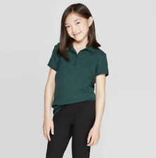 Girls' Short Sleeve Pique Uniform Polo Shirt Cat & Jack Green Size S 6/6X
