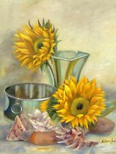 """Collectible Original Oil Painting of """"Two Sunflowers"""", Still-life of Floral"""