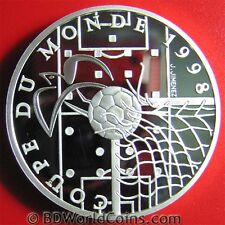 1996 FRANCE 10 FRANCS SILVER PROOF 1998 WORLD CUP SOCCER COUPE DU MONDE BALL