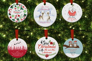 Wooden Christmas Tree Decorations, 1st Christmas as .....Personalised dec