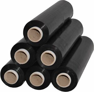 6 x Rollen Stretchfolie Palettenfolie Verpackungsfolie 23 my 2,5 kg Schwarz